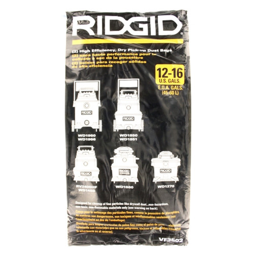 RIDGID 23743 VF3502 14-16 Gal High-Efficiency Disposable Filter Dust Bags