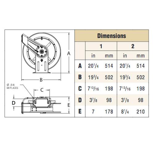 PWD76075 OHP – 3/8 in. x 75 ft. Heavy Duty Pressure Wash Hose Reel