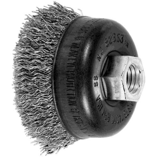 1//2 Face Width 0.012 Wire Size 4 Diameter 12500 rpm 11//16 Trim Length Brass Wire 5//8-11 Thread PFERD 82367 Crimped Wheel Brush