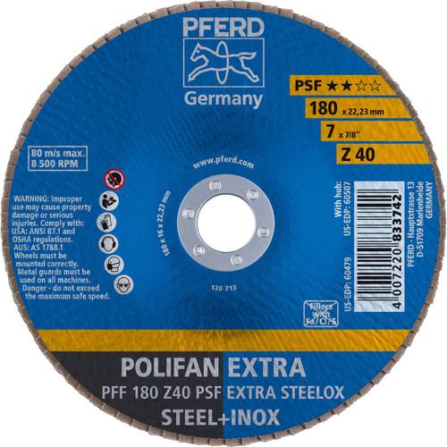 "PFERD 60479 7"" x 7/8"" POLIFAN Flap Disc Flat PSF-EXTRA Zirconia 40 Grit (10pk)"