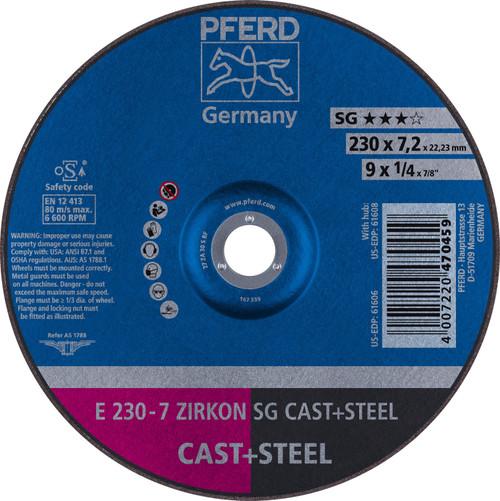 Type 27 5//8-11 Thread 24 Grit 9 Diameter x 1//4 Thickness PFERD Inc. 6600 RPM 9 Diameter x 1//4 Thickness Zirconia Alumina//Aluminum Oxide PFERD 61564 Special Line SG-Plus Grinding Wheel