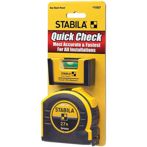 STABILA 11927 Pocket PRO Magnetic Level & BM 40 Tape Measure 27ft