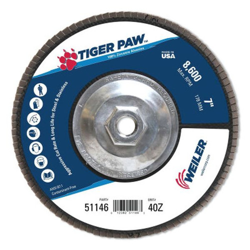 """WEILER 51146 TigerPaw TY29 Coated Abrasive Flap Disc 7"""" 40 Grit 5/8 Arb. 8600RPM"""