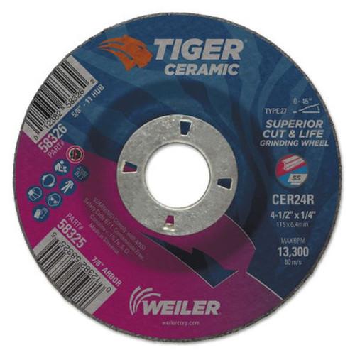 "WEILER 58325 Tiger Ceramic Grinding Wheels, 4.5"" Dia, 1/4"" Thick, 7/8"" Arbor"