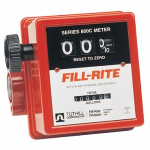 FILL-RITE 807C-1 Mechanical Flow Meters, 1 in Inlet, 5 gal/min - 20 gal/min, 3 Wheel