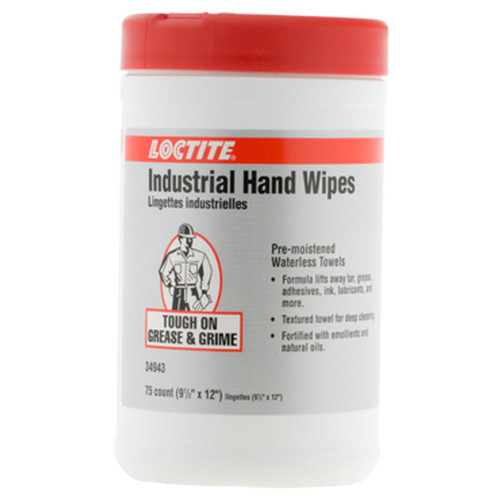 """LOCTITE 337637 Industral Hand Wipes 9.5"""" X12"""" Towel 75 Count"""