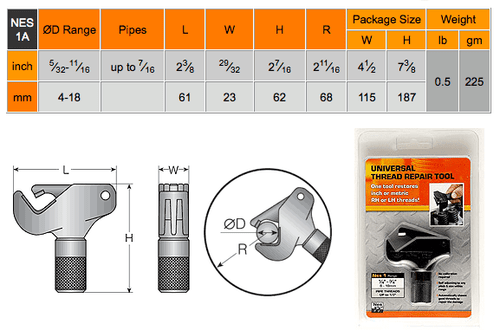 "NES1A 5/32"" - 11/16"" External Thread Repair Tool"