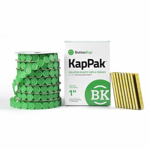 "ButtonKap KP7100 1"" Kap Pak 3/8"" Crown Staples w/ Round Caps"