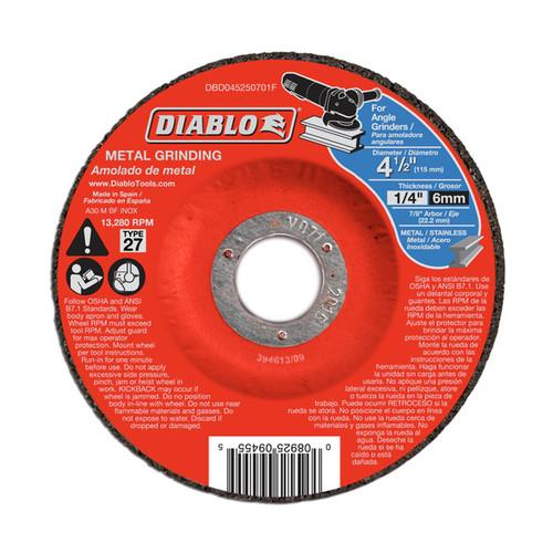 "FREUD DBD045250701F DIABLO 4-1/2"" x 1/4"" x 7/8"" Metal Grinding Disc w/ Depressed Center"