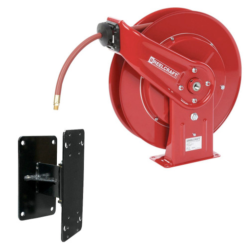 """Reelcraft 7650-OLP-KIT - 3/8"""" x 50 ft. 300 psi, Air / Water Reel with Hose and Swing Bracket"""