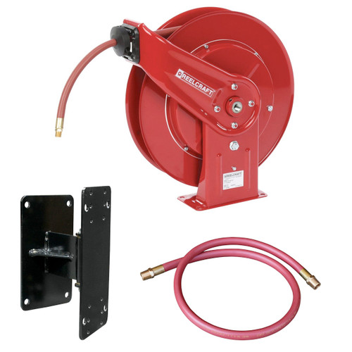 """Reelcraft 7850-OLP - 1/2"""" x 50 ft. 300 psi, Air / Water Reel w/Hose, Bracket, & Inlet Assembly"""
