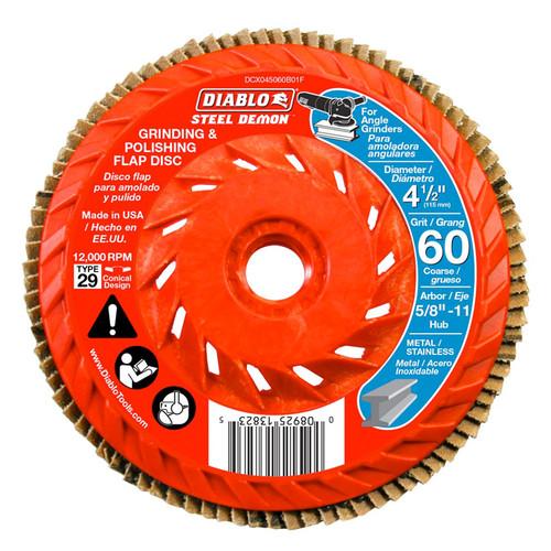 "FREUD DCX045060B01F DIABLO 4-1/2"" 60-Grit Steel Demon Grinding & Polishing Flap Disc w/ Hub"