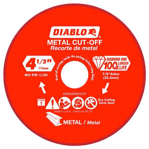 """FREUD DDD045DIA101F DIABLO 4-1/2"""" Diamond Rim Metal Cut-Off Wheel"""