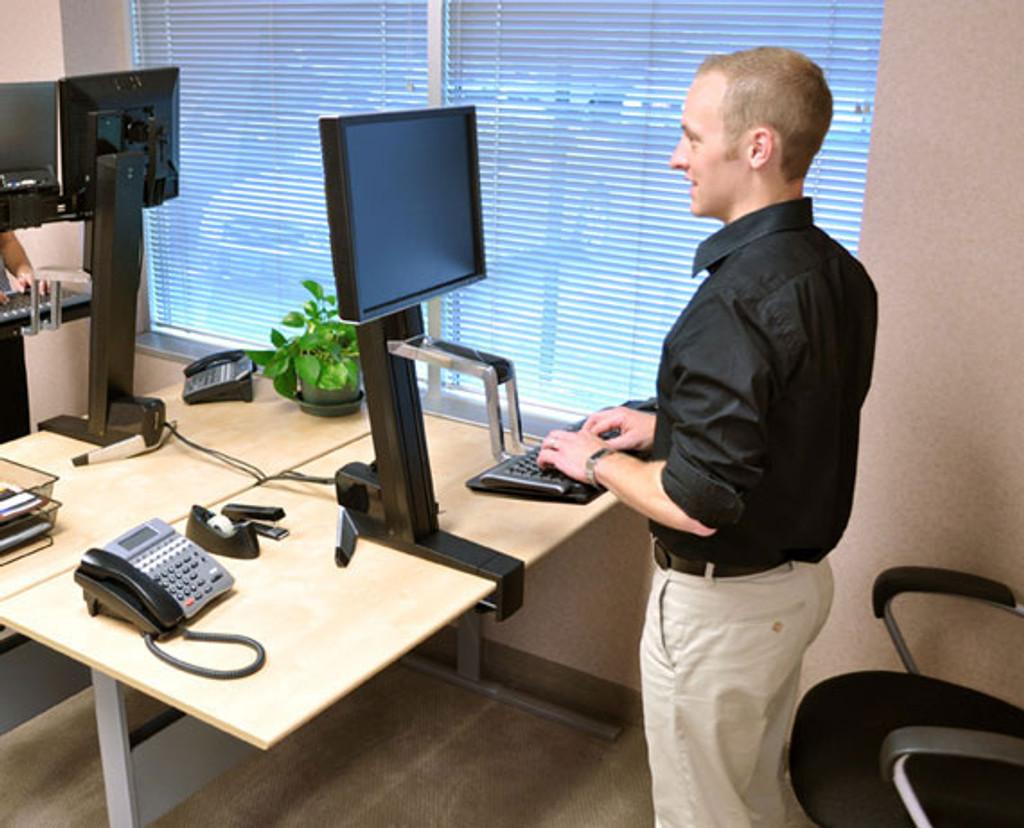 WorkFit-S, Single LD Sit-Stand Workstation In Use
