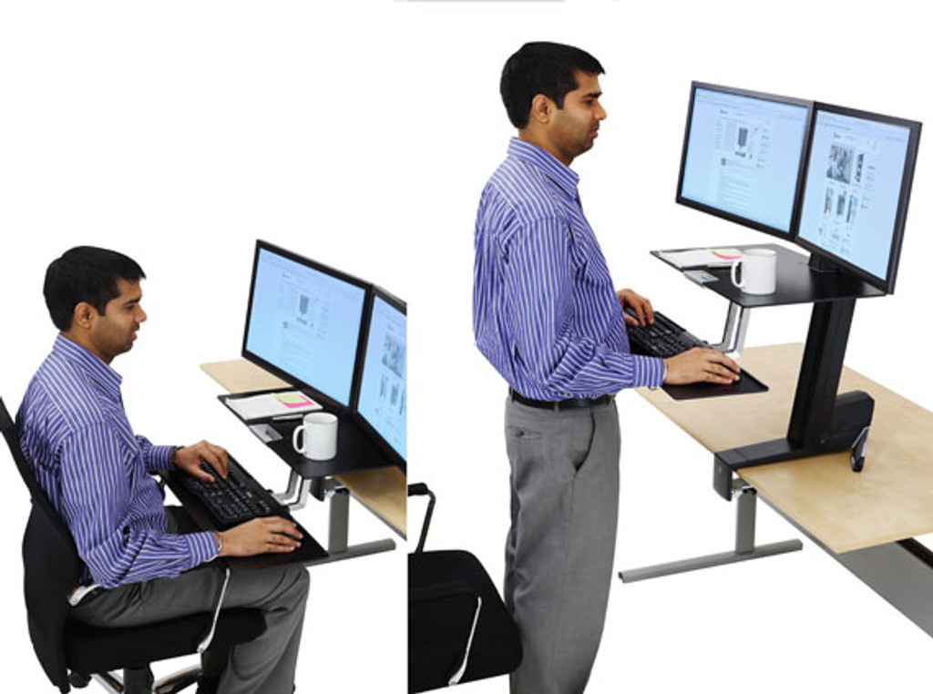 WorkFit-S, Dual Monitor with Worksurface In Use