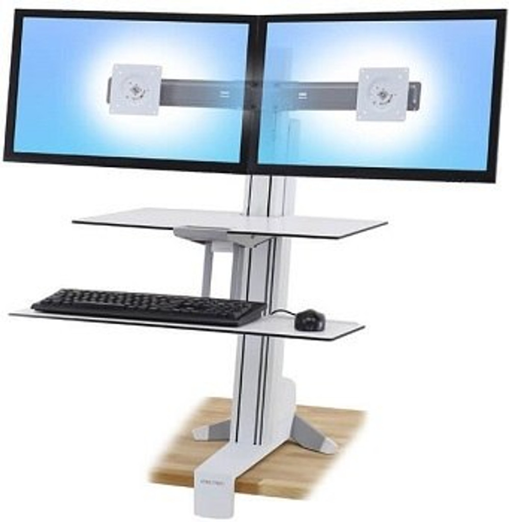 WorkFit-S in white, Dual monitor with Worksurface & Large Keyboard Tray