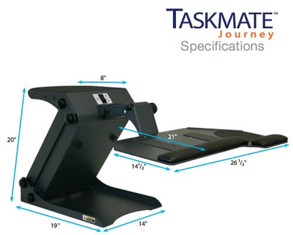 HealthPostures TaskMate Journey 6200 Dimensions