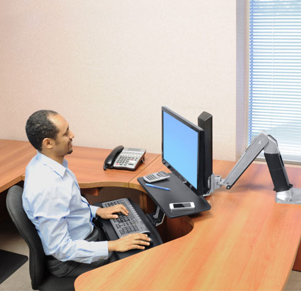 WorkFit-A with Suspended Keyboard, Single LD (24-390-026) In Use Sitting