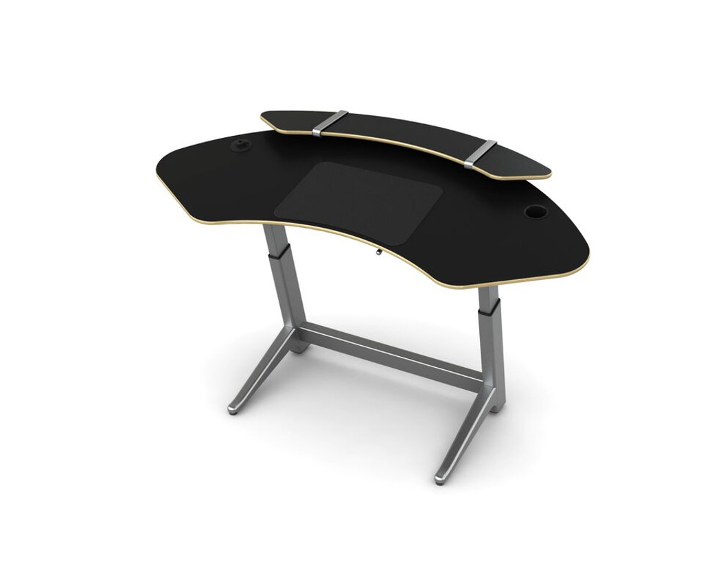 Sphere desk in matte black with optional sphere shelf