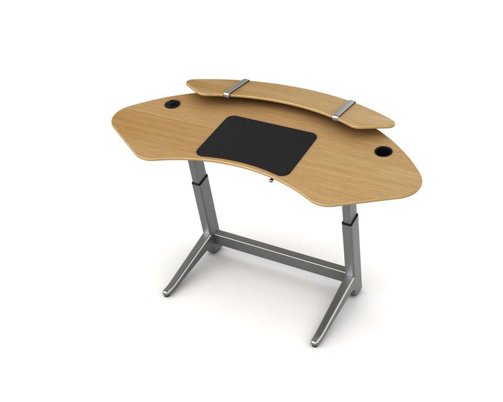 Sphere desk in white oak with optional sphere shelf