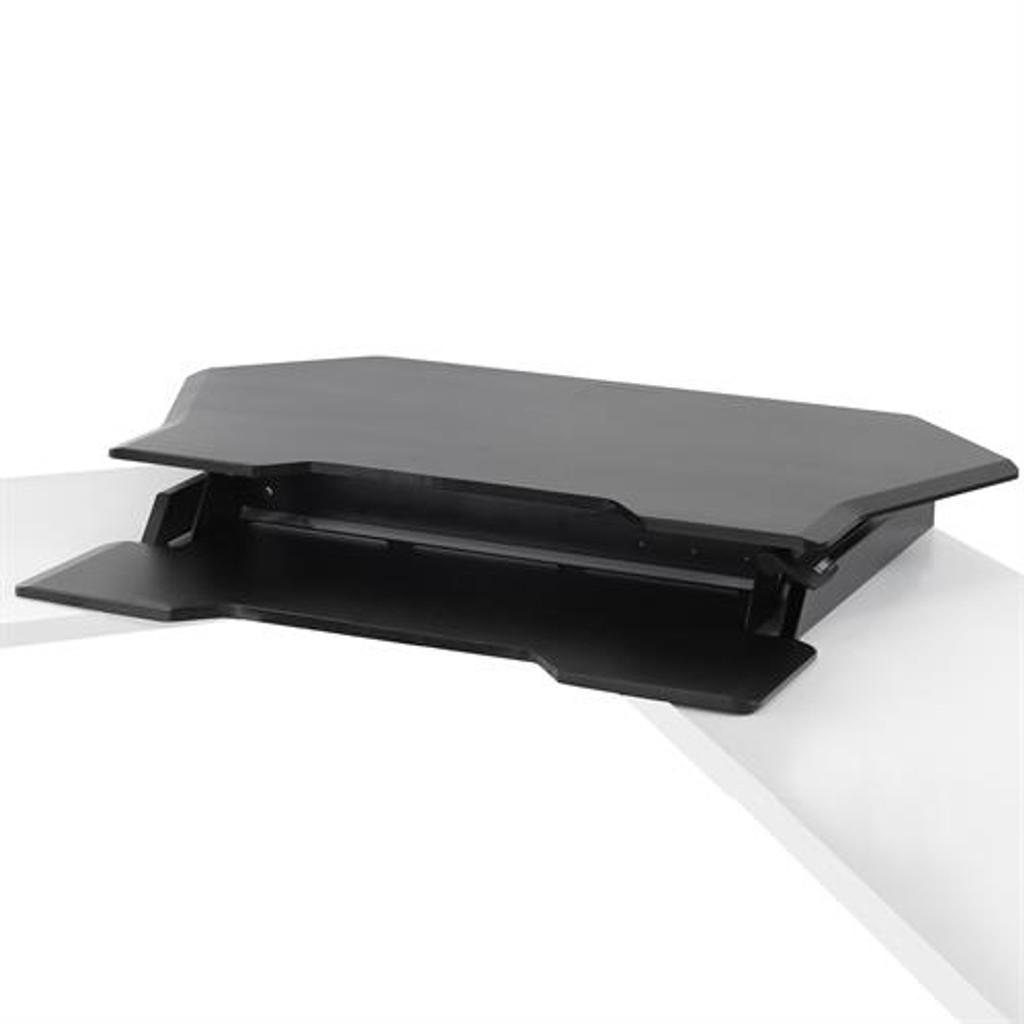 Workfit corner standing desk converter unit folded