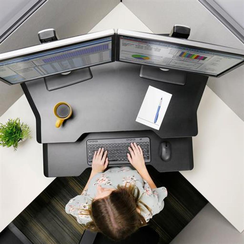 Workfit corner standing desk converter top view