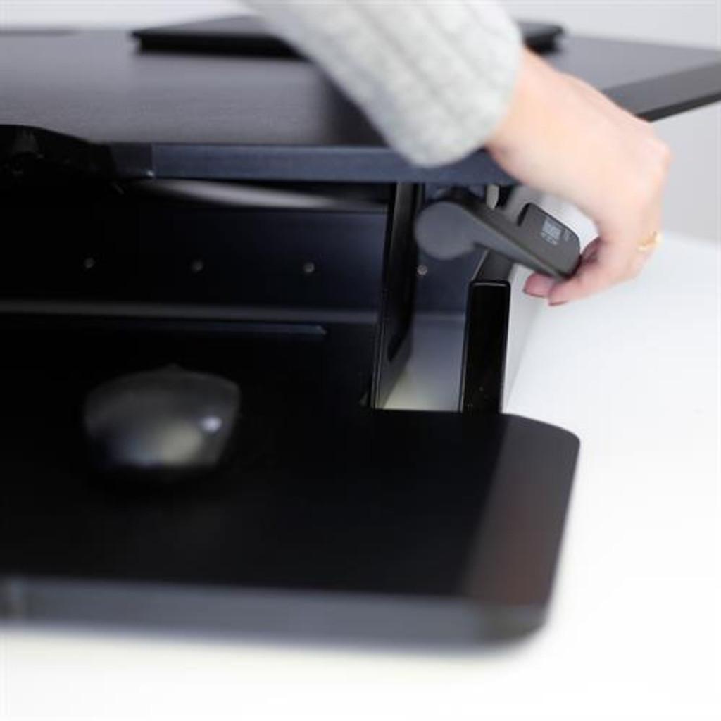Workfit corner standing desk converter lever adjustment