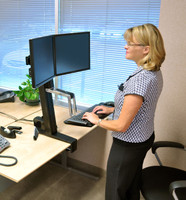 Ergotron WorkFit-S, Dual LCD Sit-Stand Workstation In Use