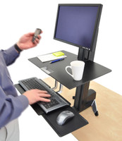 Ergotron WorkFit-S, LCD HD w/Worksurface & Large Keyboard Tray in Use