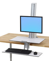Ergotron WorkFit-S, single HD with Worksurface & Large Keyboard Tray in white
