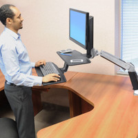 WorkFit-A with Suspended Keyboard, Single LD (24-390-026) In Use Standing