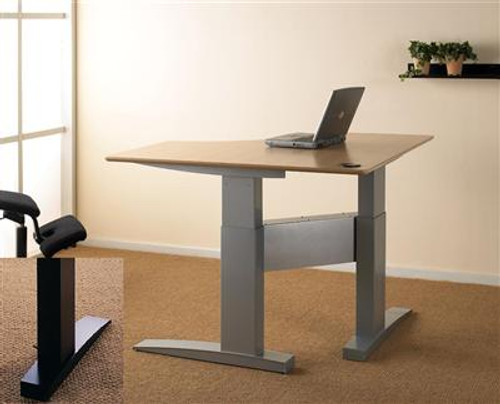 ConSet 501-11 Electric Height Adjustable Corner Desk Silver/Black Leg