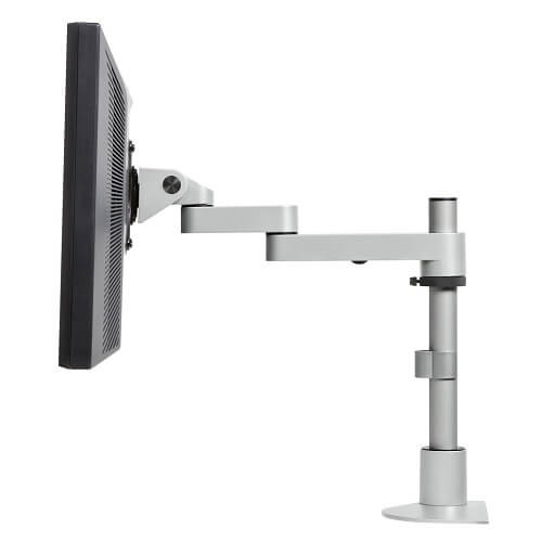 "Single Tier Foldable LCD Arm w/14"" Pole (9112-S-14-FM) Silver"