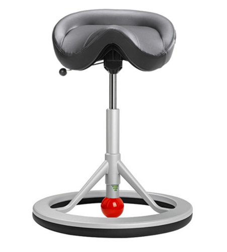 Backapp Chair, Silver Grey, Faux Leather, Red ball