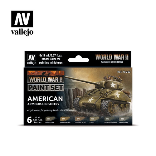 WWII American Armour & Infantry Acrylic Paint Set (6x17ml) AV70203