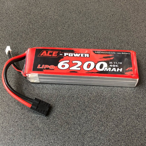 11.1v 6200MAh 40c LiPo Battery ACE6200SC403STRX