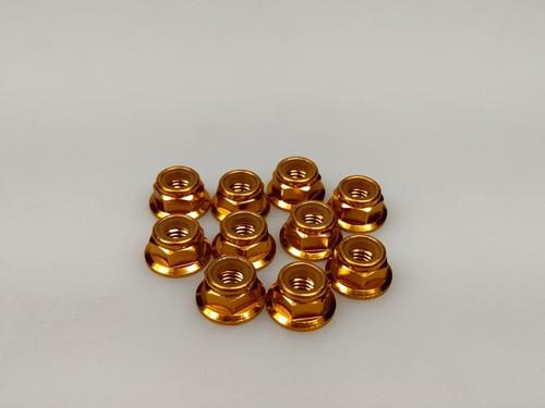 Nylon Nut 10Pcs Flanged (Gold) QW00321GOLD