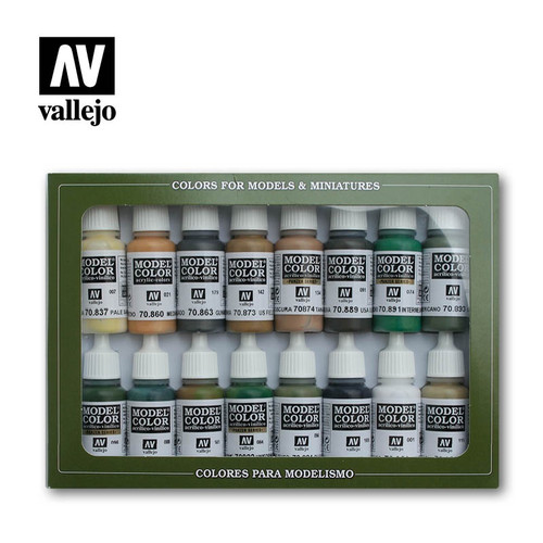 Model Color Allied Forces WWII Acrylic Paint Set (16x17ml) AV70109