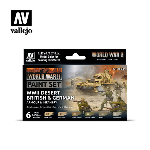 Model Color WWII Desert British & German Armour & Infantry Acrylic Paint Set (6x17ml) AV70208