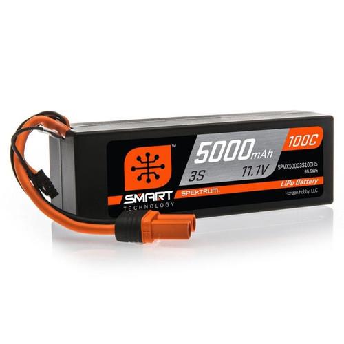 Spektrum 5000mAh 3S 11.1V 100C Smart Hard Case LiPo Battery with IC5 Connector SPMX50003S100H5