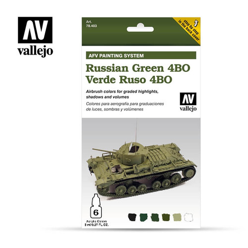 Model Air Russian Green 4BO Acrylic Paint Set - AFV Painting System (6x8ml) AV78403