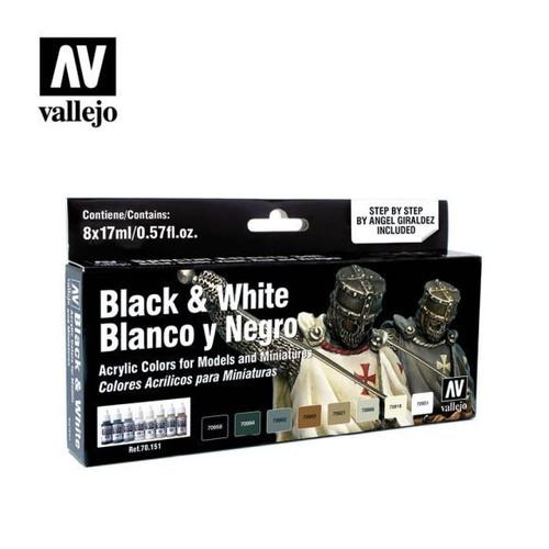 Model Color Black & White Acrylic Paint Set (8x17ml) AV70151