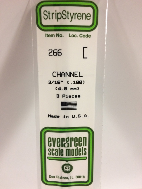 "Styrene Channel 3/16"" (.188"") (4.8mm) Length: 14"" (35cm) 3pcs 266"