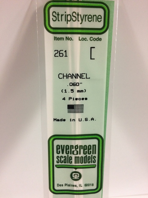 "Styrene Channel .060"" (1.5mm) Length: 14"" (35cm) 4pcs 261"