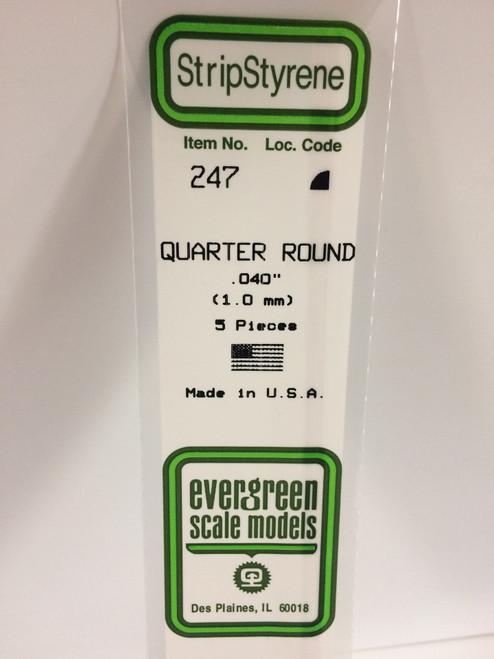 """Styrene Quarter Round .040"""" (1.0mm) Length: 14"""" (35cm) 5pcs 247"""