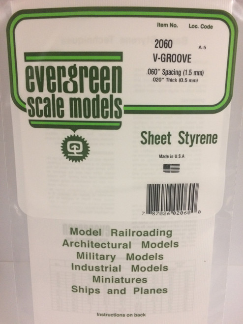 """Styrene V-Groove Siding 6"""" x 12"""" (15 x 30cm) Spacing: .060"""" (1.5mm) Thickness: .020"""" (0.5mm) 1pce 2060"""