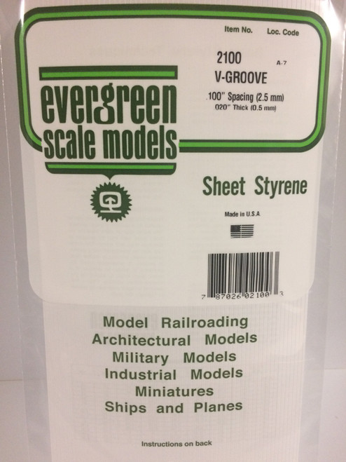 """Styrene V-Groove Siding 6"""" x 12"""" (15 x 30cm) Spacing: .100"""" (2.5mm) Thickness: .020"""" (0.5mm) 1pce 2100"""