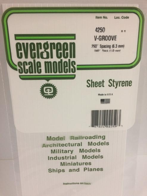 """Styrene V-Groove Siding 6"""" x 12"""" Spacing: .250""""  EG4250"""