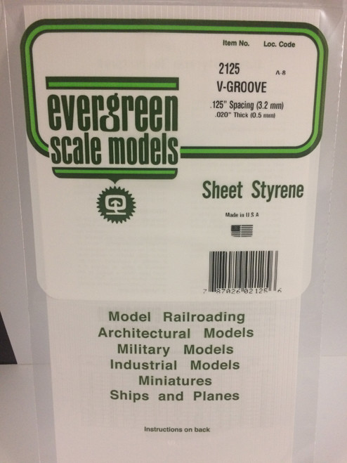 """Styrene V-Groove Siding 6"""" x 12"""" (15 x 30cm) Spacing: .125"""" (3.2mm) Thickness: .020"""" (0.5mm) 1pce 2125"""