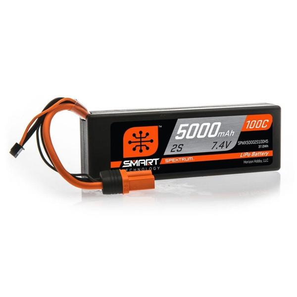 Spektrum 5000mAh 2S 7.4V 100C Smart Hard Case LiPo Battery with IC5 Connector SPMX50002S100H5